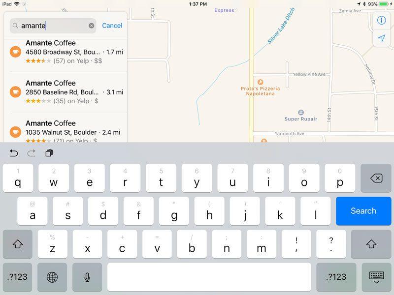 Apple Maps App Search Screen 2