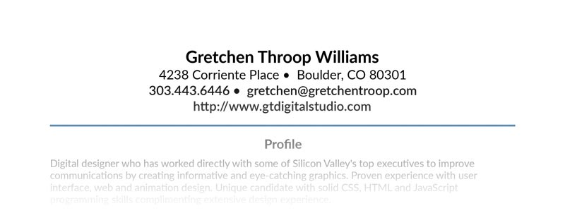 Gretchen Throop Williams' Resume Top