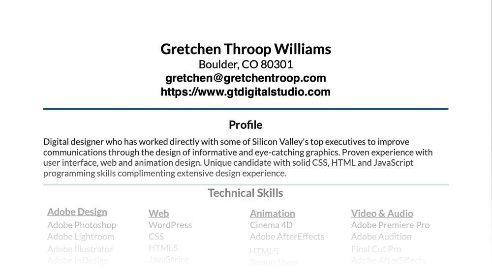 Gretchen Throop Williams' Resume Top